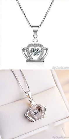 Color:As the Silver/CrystalStyle: Girlfriend Gift/FashionFashion Element:Crown/Diamond/CrossOwn this crown necklace, You become my queen! Pretty Necklaces, Cute Necklace, Girls Necklaces, Swagg, Women Accessories, Fashion Accessories, Necklace Designs, Crystal Necklace, Fashion Necklace