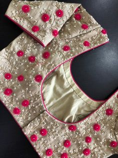 Latest designer ready made blouse design - The handmade craft Cutwork Blouse Designs, Pattu Saree Blouse Designs, Simple Blouse Designs, Stylish Blouse Design, Bridal Blouse Designs, Blouse Simple, Hand Work Blouse Design, Simple Embroidery Designs, Designer Blouse Patterns