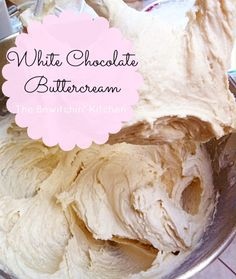 White Chocolate Buttercream Frosting recipe - Looking for frosting recipes? This makes for an amazing dessert - just try to save some for the cake and/or cupcakes White Chocolate Buttercream Frosting, Icing Frosting, Cake Icing, White Chocolate Frosting, Buttercream Recipe, Dessert Chocolate, Chocolate Chocolate, Chocolate Covered, Chocolate Recipes