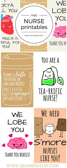 Here are some cute nurse appreciation thank you cards and gift tags that you can download, customize, and print for free.