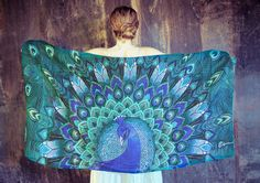100 SILK scarf Hand painted Peacock in Aquas stunning by Shovava, $129.00