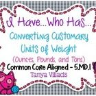"""This purchase contains 24 """"I have…who has…"""" cards for converting customary units of weight. Student friendly conversion chart is included! This act..."""