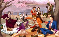 Ace Attorney Picnic.. Franziska and Edgeworth's faces!! :D And Diego and Mia sitting together in the back... *cries*