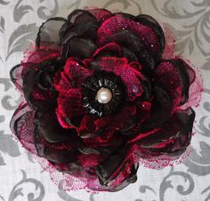 Black and Fuchsia Polyester Handmade Fabric Flower by Bloomzies, $7.00