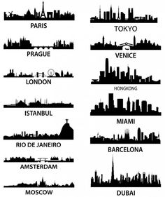13 Skylines in Silhouette