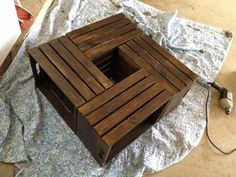 DIY coffee table with storage underneath from wine crates!