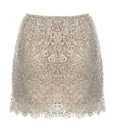 Venetian Glitter Skirt: Features an intricate embroidered lace shell with tonal liner for full coverage, glittering sequins sprinkled throughout for party-ready shimmer, and an ultra feminine scalloped lace hem to finish.