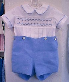 Blue button-on pants with hand smocking - elegant for a little boy!
