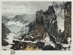 Luigi Kasimir Original colored, hand signed etching by by Luigi Kasimir measuring 17 1/2 x 15 1/8 inches. Created in 1930, dated in the plate, in an edition of 300.