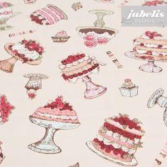 jubelis® Wachstuch Bakery apricot mit vielen Torten und Gebäck