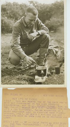 A WWII soldier heating C rations and hot chocolate during a brief half hour lull in the fighting.