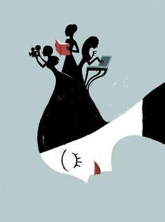Reading, books, women readers… / Lecturas, libros, lectoras… (ilustración de Rita Petruccioli)