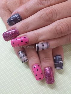 Pink and charcoal gel with spots and stripes