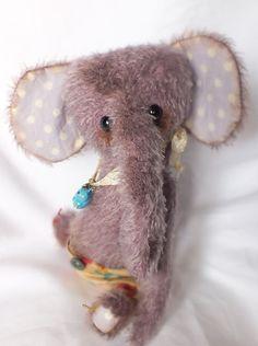 CUTE Baby Elephant - BUBBLEGUM - Purple Mohair Artist Bear - Vintage Style Antique Teddy - acuriouswhim.etsy.com
