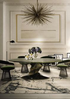 Simplicity, contemporary design, and seductive power are the main characteristics of this charming Dining Room