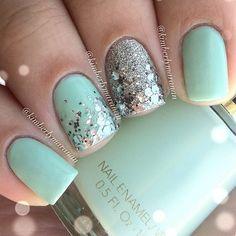 Mint and glitter nails