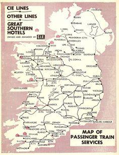 CIE Irish Railways map, 1960 | By 1960 the pruning of the Ir… | Flickr Buses, Touring, Trains, Maps, Ireland, Irish, History, Blue Prints, Irish Language