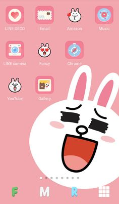 [LINE DECO] Pink Cony home screen! ★ In this screen ★ Deco Pack : Lovely Cony + LINE FRIENDS + Leonard Wallpaper : Smiling Cony Line Cony, Cony Brown, Line Camera, Iphone App Layout, Line Friends, Homescreen, Character Design, Android, Fancy