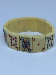 "Vintage Bakelite Bracelet Playing Cards Stretch Bracelet Cards Are 7/8"" X 1/2"" W"