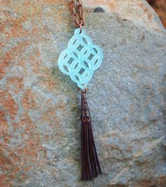 Zara ~ Ice Blue Pendant, Leather Tassel Necklace