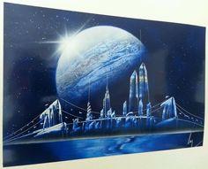 SPRAY PAINT ART - Art NYC (11 in x 17 in) Enamel Space Painting #SprayPaintArt
