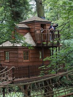 When I was a kid we had a Tree House in the back yard. It was about 8 feet up in a big oak tree. It was a simple creation four walls, a wooden plank floor and a roof covered with leftover shingles. It was nothing fancy, but held a lot of memories in. Beautiful Tree Houses, Cool Tree Houses, House Beautiful, Ideas Cabaña, Luxury Tree Houses, Tree House Designs, Tree Tops, In The Tree, Play Houses