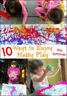We're glad that some moms thoroughly embrace their kids' messy play activities! These craft activities and sensory play ideas are great ways to keep your kids busy, and stimulate their creativity! Sensory Activities, Toddler Activities, Sensory Play, Sensory Bins, Indoor Activities, Physical Activities, Family Activities, Summer Activities For Kids, Summer Kids