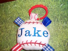 TORANTO BLUE JAYS  -  Royal Blue, White and a touch of Red...   BaseBall Baby Toy  ---  Are these Your Team Colors on Etsy, $8.00