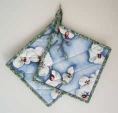 White Orchids Potholders Set of 2 Quilted by OrchidFabricDecor, $14.00