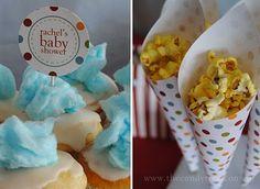 fairy baby shower ideas | Fairy floss cupcakes} {Popcorn cones} {Tissue paper pom poms}