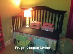 Convert a Child's Old Crib into New Desk - Paint with Chalk Board Paint for Added fun! #Tutorial #DIY #Craft