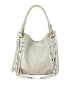 Lust Fringed Hobo Bag, Stone