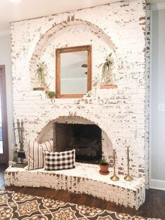 48 Stunning Brick Fireplace Mantle Design Ideas On A Budget Brick Fireplace Makeover, Home Fireplace, Living Room With Fireplace, Fireplace Design, Brick Fireplace Decor, Brick Fireplace Remodel, Fireplace Ideas, Painted Brick Fireplaces, Ideas For Fireplaces