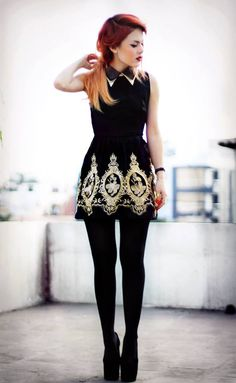 le-happy,baroque gothic dress with collar