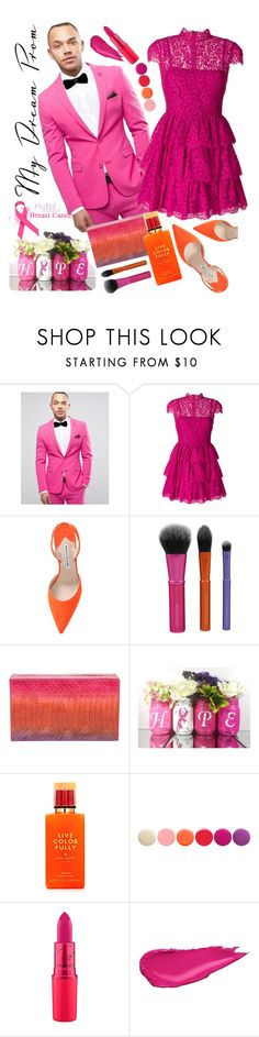 """My dream prom for HOPE: breast cancer awareness"" by felicitysparks ❤ liked on Polyvore featuring ASOS, Alice + Olivia, Manolo Blahnik, Nancy Gonzalez, Kate Spade and Deborah Lippmann"
