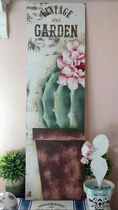 Cactus Decor, Cactus Art, Tole Painting, Painting On Wood, Rustic Pictures, Country Paintings, Vintage Country, Christmas Tag, Watercolor Art