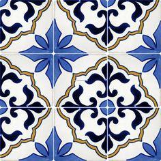 mexican tile designs stencil | Mexican Talavera Frost Proof Tile 'Flores' - Terra Artesana