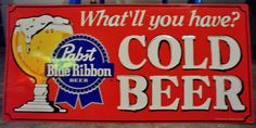 Not super old - but a retro design. Would look great in a garage, on a patio or in a man cave. Vintage Beer Signs, Pabst Blue Ribbon, Tacker, Garage Signs, Advertising Signs, Tin Signs, Metal Tins, Retro Design, Signage
