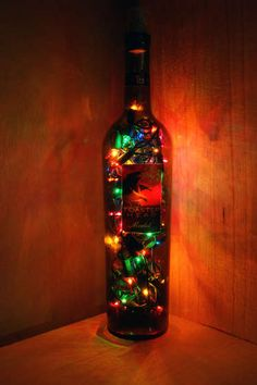 Wine bottle lamp - holiday crafty!