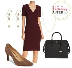 A V-neck sheath dress is a quality basic that always looks current despite other trends coming and going/ | Fabulous After 40 (scheduled via http://www.tailwindapp.com?utm_source=pinterest&utm_medium=twpin) #dressyoutfits