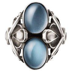 Georg Jensen. Design no. 48. Ring. Sterling silver and moonstone. Modern: 'Moonlight Blossom' series from Georg Jensen.