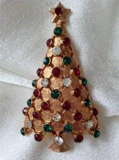 Vintage Mylu Signed Christmas Tree Emerald Ruby Rhinestone Gold Tone Brooch | eBay