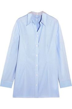 White, sky-blue and light-gray cotton-poplin Button fastenings through front 100% cotton Dry clean Made in Italy