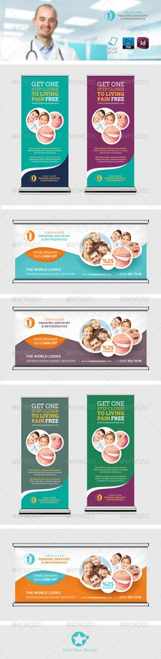 Dentist Billboard Roll-Up Templates, breath, canal therapy, child, clinical… Free Dental Care, Roll Up Design, Flyer Printing, Dental Floss, Digital Signage, Print Templates, Banner Design, Billboard, Flyer Template