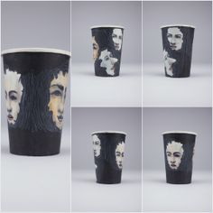 hand drawing on paper cups