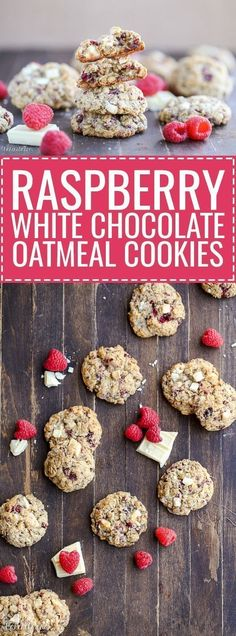 These Raspberry White Chocolate Oatmeal Cookies are super thick with crisp edges, big chunks of white chocolate and freeze dried raspberries. These Raspberry White Chocolate Oatmeal Cookies are super thick with crisp edges, big chun Raspberry Brownies, Raspberry Cookies, Raspberry Buttercream, Raspberry Crumble, Raspberry Leaf Tea, Freeze Dried Raspberries, Freeze Dried Fruit, Vegan White Chocolate, White Chocolate Raspberry