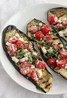 Grilled Eggplant with Tomatoes, Feta, and Basil #vegetarian #eggplant #grilling #basil