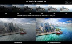 """This is the before-and-after comparison of """"Izmir Harbor ( #HDR)"""". In the top row, you see the six original source images straight out of the camera. This image is based on a 6-shot semi-autobracketing series."""