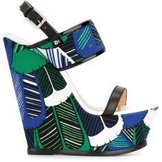 Dsquared2 wedge sandals ($780) ❤ liked on Polyvore featuring shoes, sandals, multicolour, ankle wrap sandals, leather shoes, high heel wedge sandals, multi color wedge sandals and colorful wedge sandals