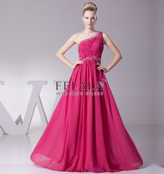 A Line One Shoulder Floor Length Chiffon Hot pink Prom/Bridesmaid Dress